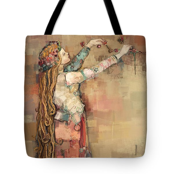 Tote Bag featuring the painting Freyja And Her Cats by Carrie Joy Byrnes