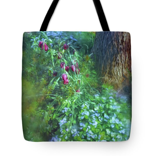 Tote Bag featuring the photograph Fritillaria And Forget-me-nots  by Connie Handscomb