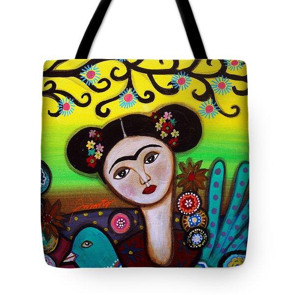 Frida And Bird Tote Bag by Pristine Cartera Turkus