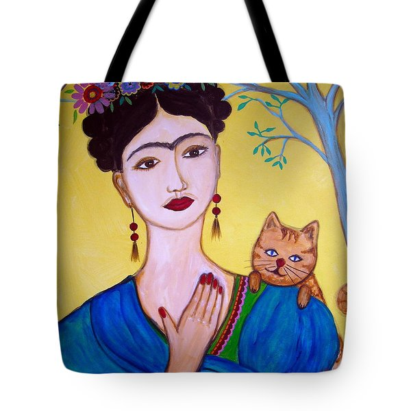 Frida And Her Cat Tote Bag by Pristine Cartera Turkus