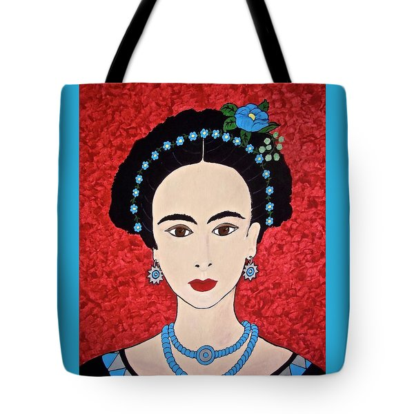 Frida With Blue Flowers Tote Bag by Stephanie Moore