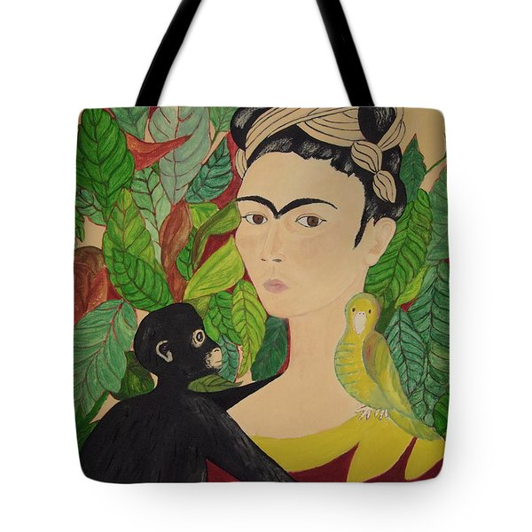Frida With Monkey And Bird Tote Bag by Stephanie Moore