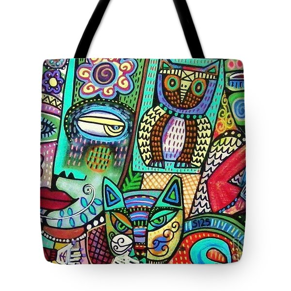 -frida's Garden Owl And Cat Tote Bag