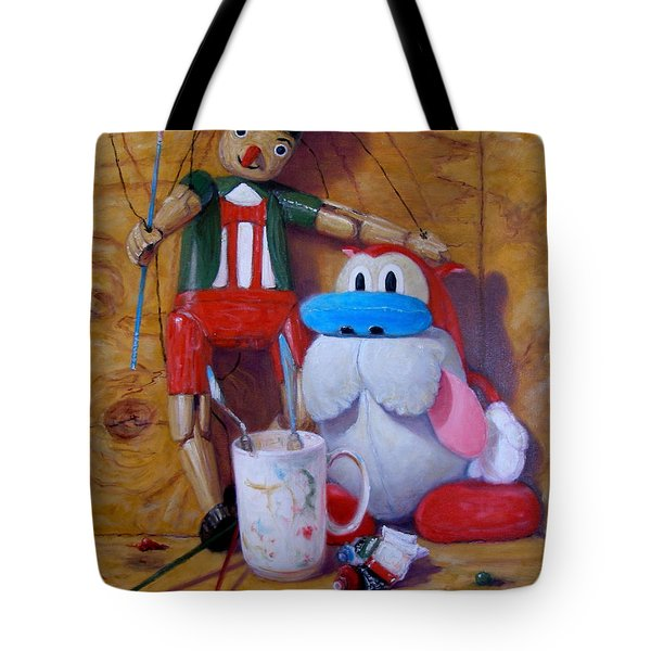 Friends 2  -  Pinocchio And Stimpy   Tote Bag