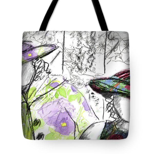 Tote Bag featuring the painting Friends And Flowers by Cathie Richardson