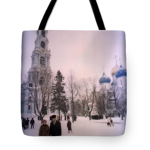 Friends In Front Of Church Tote Bag by Ted Pollard