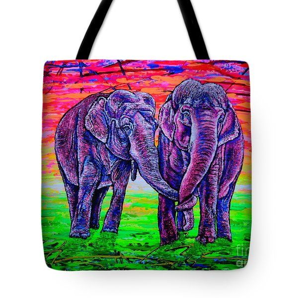 Tote Bag featuring the painting Friends by Viktor Lazarev