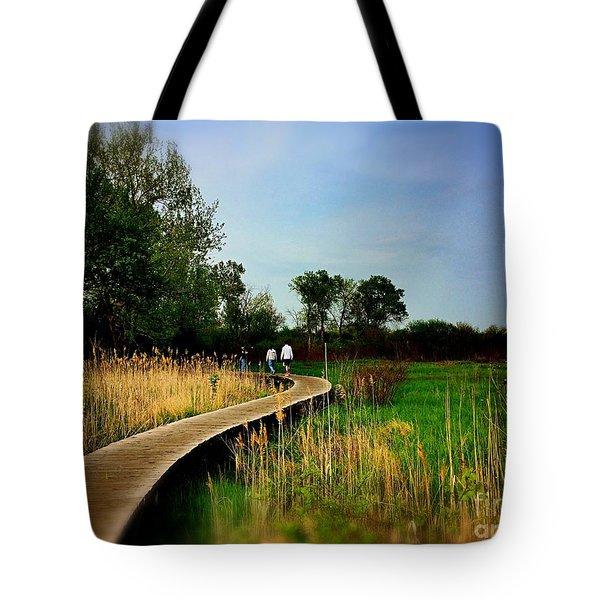 Friends Walking The Wetlands Trail Tote Bag
