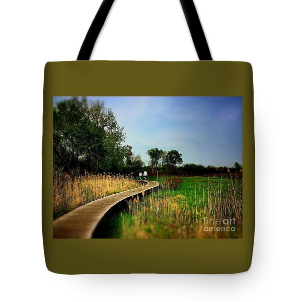 Friends Walking The Wetlands Trail Tote Bag