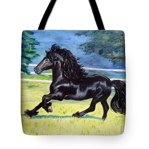 Friesian, Run Like The Wind Tote Bag