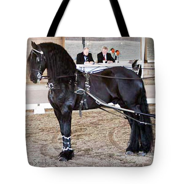 Friesian Stallion Under Harness Tote Bag