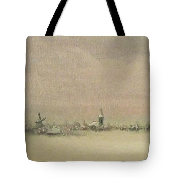 Tote Bag featuring the painting Friesland Under Snow by Annemeet Hasidi- van der Leij