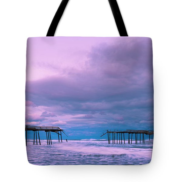 Tote Bag featuring the photograph Frisco Fishing Pier And Clouds Panorama by Ranjay Mitra