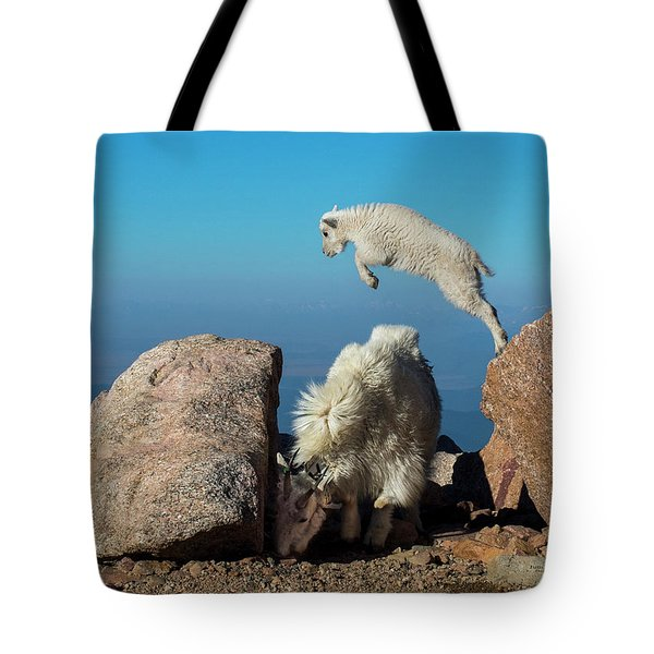 Leaping Baby Mountain Goat Tote Bag
