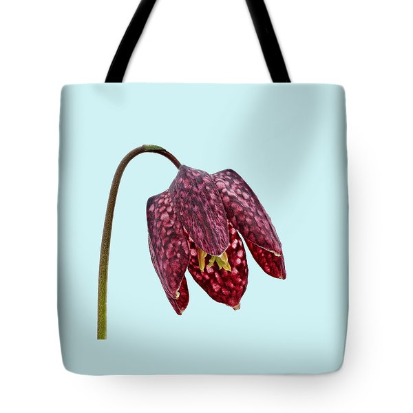 Fritillaria Meleagris Blue Background Tote Bag