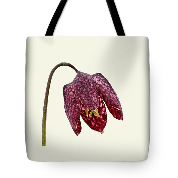 Fritillaria Meleagris Cream Background Tote Bag