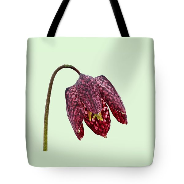 Fritillaria Meleagris Green Background Tote Bag