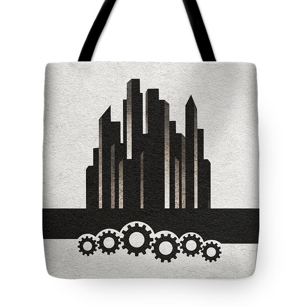 Tote Bag featuring the painting Fritz Lang's Metropolis Alternative Minimalist Movie Poster by Inspirowl Design