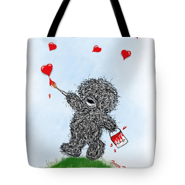 Frizzy Freddy- Painting Hearts Just For You Tote Bag