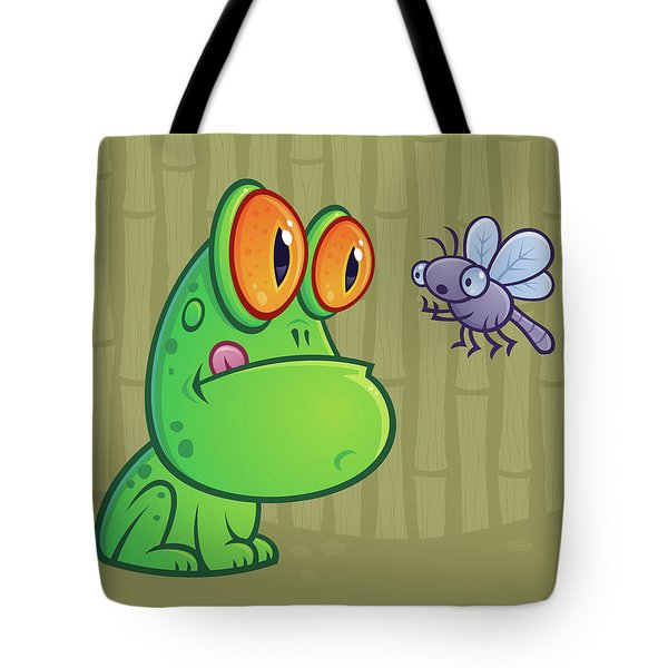 Frog And Dragonfly Tote Bag