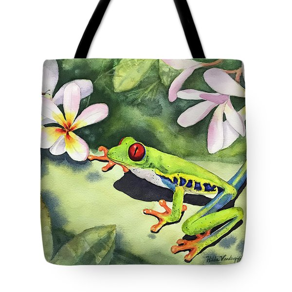 Frog And Plumerias Tote Bag