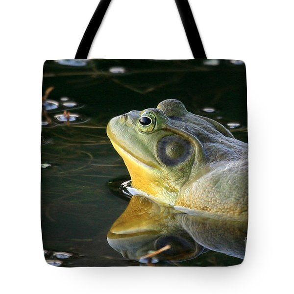 Tote Bag featuring the photograph Frog At Sunset by Paula Guttilla