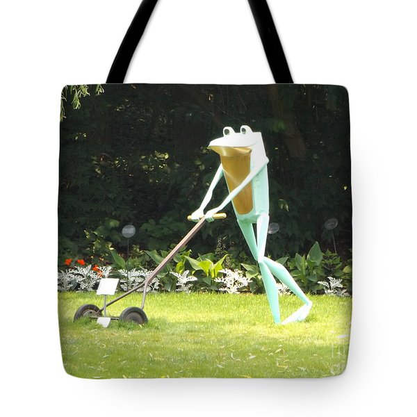 Frog Cutting Grass Tote Bag by Erick Schmidt
