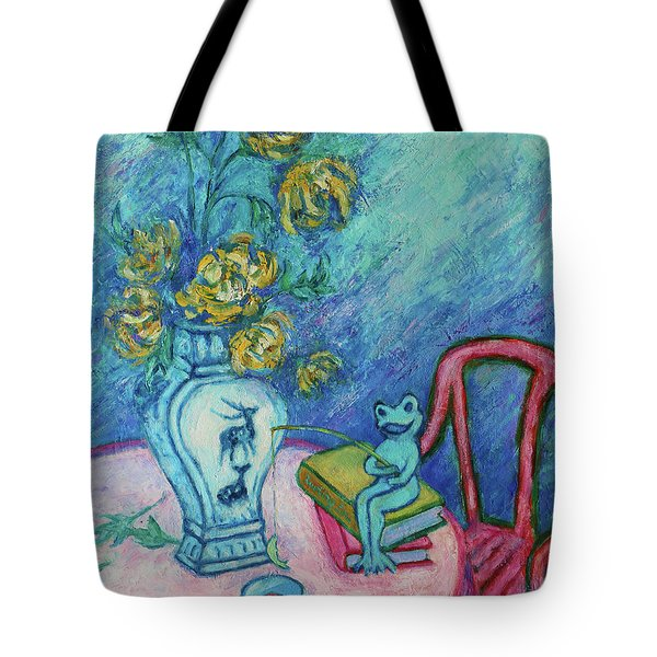 Tote Bag featuring the painting Frog Fishing Under Chrysanthemums by Xueling Zou