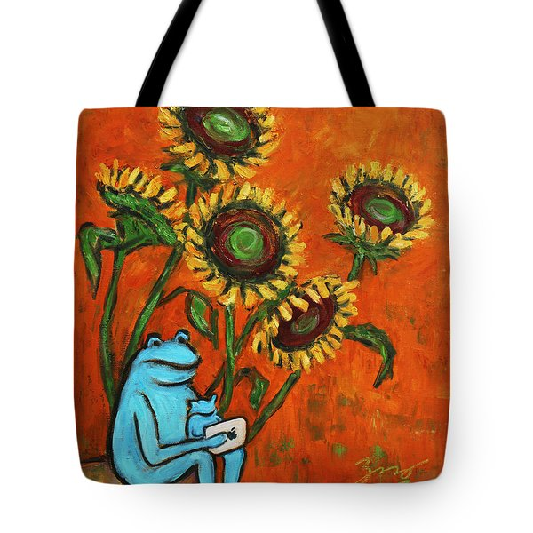 Frog I Padding Amongst Sunflowers Tote Bag by Xueling Zou