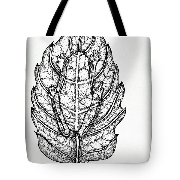 Frog On A Leaf Tote Bag by Nick Gustafson