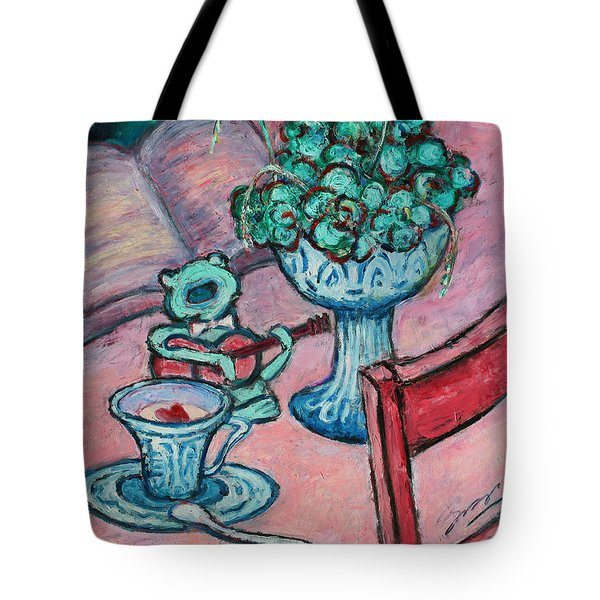 Tote Bag featuring the painting Frog Singing At Teatime by Xueling Zou