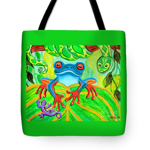 Frog Snake And Gecko In The Rainforest Tote Bag by Nick Gustafson
