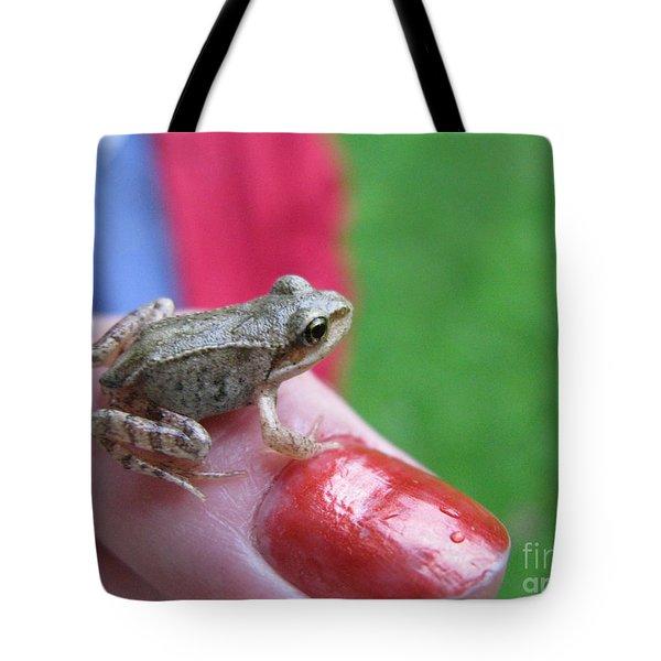 Tote Bag featuring the photograph Frog The Prince by Ausra Huntington nee Paulauskaite
