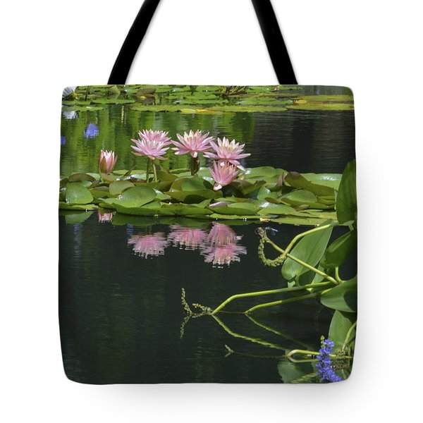 Water Lily Reflections Tote Bag by Linda Geiger