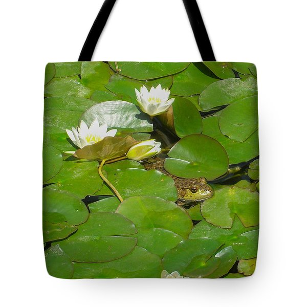 Frog With Water Lilies Tote Bag by Mark Barclay