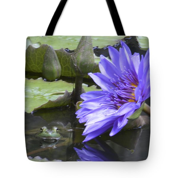 Frog With Water Lily Tote Bag by Linda Geiger