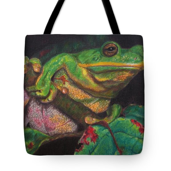 Tote Bag featuring the painting Froggie by Karen Ilari