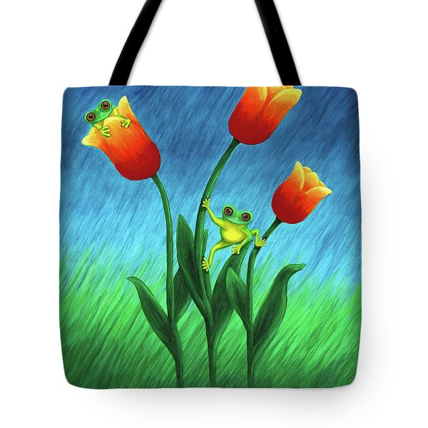 Froggy Tulips Tote Bag