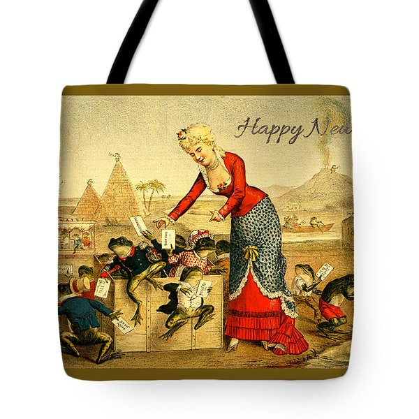 Card New Year Frogs Tote Bag