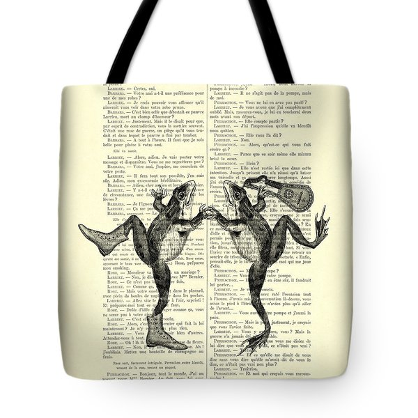 Frogs With Mandolin Music Print Vintage Animals Illustration Tote Bag