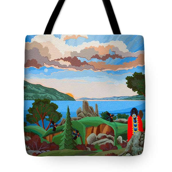 Tote Bag featuring the painting From A High Place, Troubles Remain Small by Chholing Taha