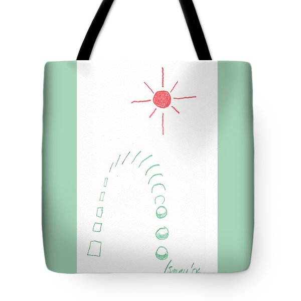Tote Bag featuring the drawing From Square To Sphere by Rod Ismay