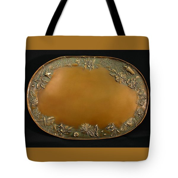 Tote Bag featuring the sculpture From The Foothills Bronze Tray by Dawn Senior-Trask