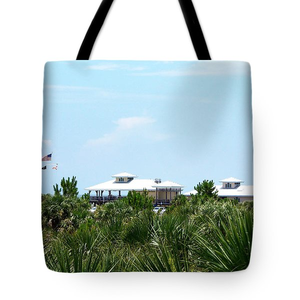 Tote Bag featuring the photograph From The Honey Moon Island Visitor Center 000 by Chris Mercer