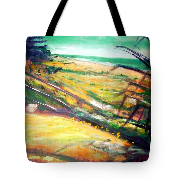 Tote Bag featuring the painting From The Lawn Pandanus by Winsome Gunning