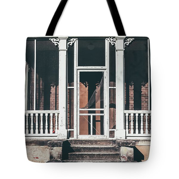 Tote Bag featuring the photograph Front Door Of Abandoned Building by Kim Hojnacki