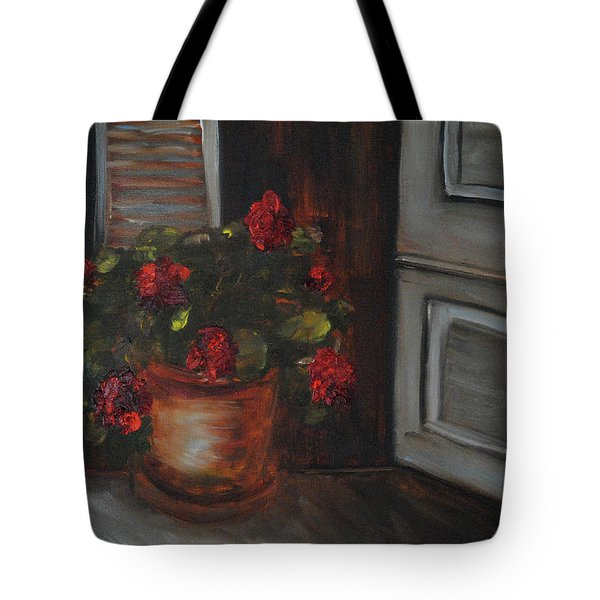 Front Porch Flowers Tote Bag