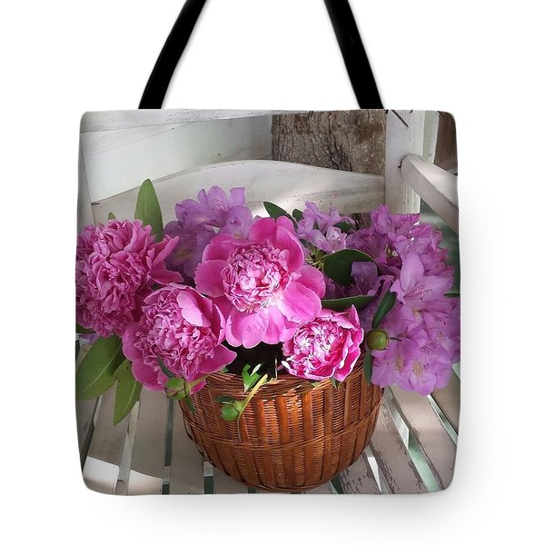 Front Porch Peonies Tote Bag