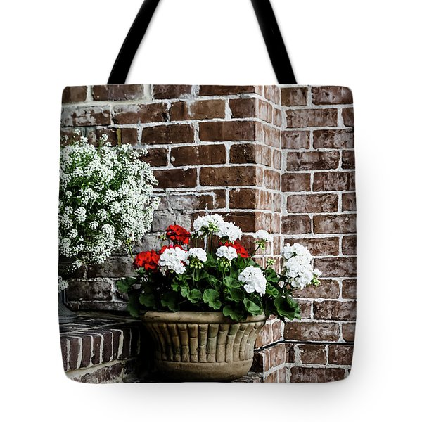Tote Bag featuring the photograph Front Porch With Flower Pots by Kim Hojnacki
