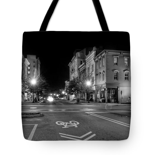 Front Street In Wilmington North Carolina In Black And White Tote Bag